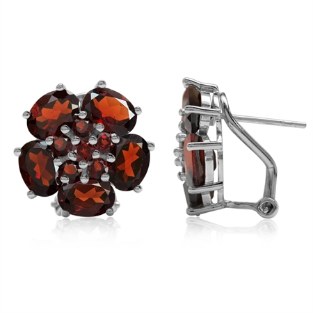 10.2ct. Natural Garnet White Gold Plated 925 Sterling Silver Flower Cluster Omega Clip Post Earrings