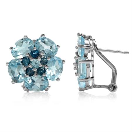 9.78ct Genuine Blue Topaz & London Blue Topaz 925 Sterling Silver Flower Cluster Omega Clip Earrings