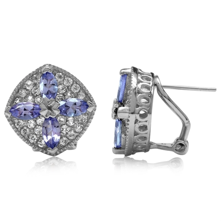 2.08ct. Genuine Tanzanite White Gold Plated 925 Sterling Silver Flower Omega Clip Post Earrings