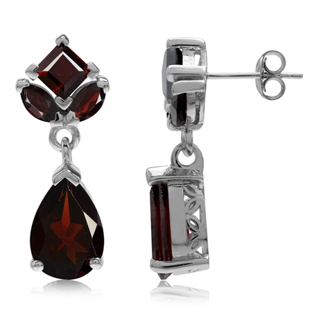 9.3ct. Natural Garnet White Gold Plated 925 Sterling Silver Drop Dangle Post Earrings