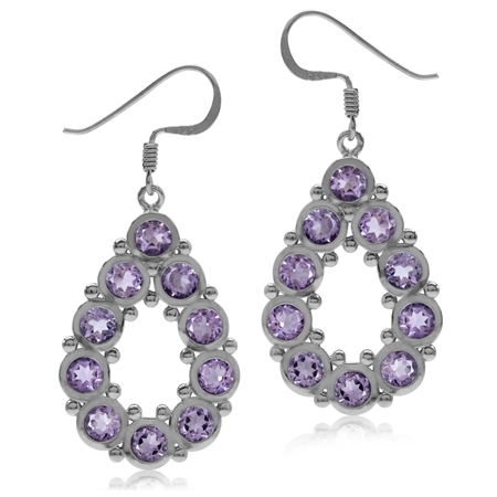 5ct. Natural Amethyst White Gold Plated 925 Sterling Silver Drop Dangle Hook Earrings