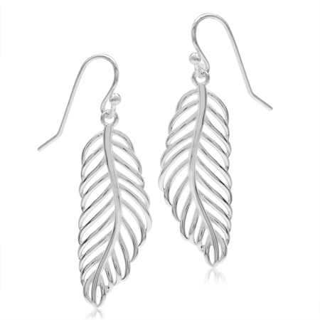 925 Sterling Silver Filigree Feather Dangle Hook Earrings