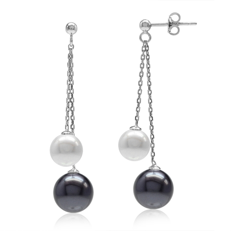 Double Black & White Imitation Pearl 925 Sterling Silver Dangling Chain Post Earrings