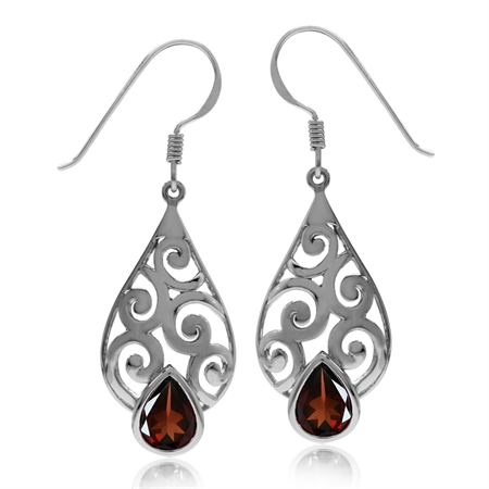 2.46ct Natural Garnet Gold Plated 925 Sterling Silver Filigree Swirl & Spiral Drop Dangle Earrings