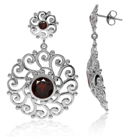 4.58ct. Natural Garnet 925 Sterling Silver Swirl & Spiral Round Disc Shape Dangle Post Earrings