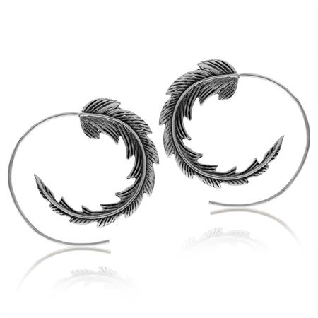 925 Sterling Silver Feather Side View Hoop Earrings
