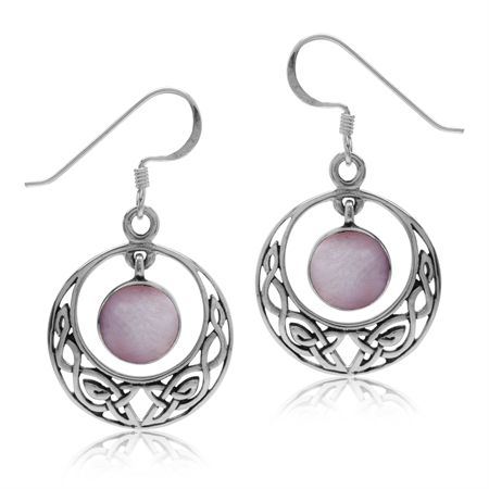 Dangle Pink Mother Of Pearl 925 Sterling Silver Celtic Knot Circle Hook Earrings