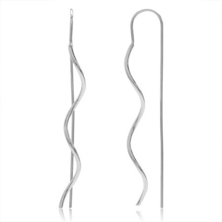 White Gold Plated 925 Sterling Silver Wavy Threader Earrings