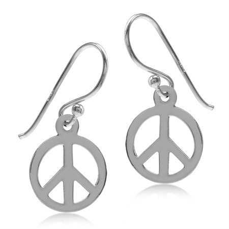 925 Sterling Silver Peace Sign Dangle Hook Earrings