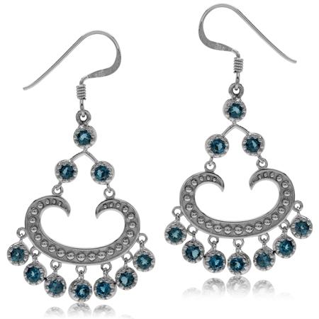 2.8ct. Genuine London Blue Topaz White Gold Plated 925 Sterling Silver Chandelier Earrings