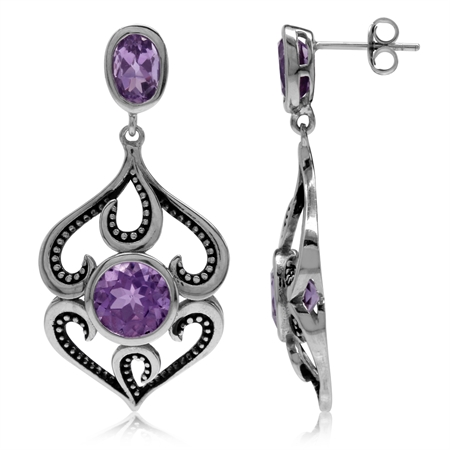 5ct. Natural Amethyst 925 Sterling Silver Baroque Inspired Dangle Post Earrings