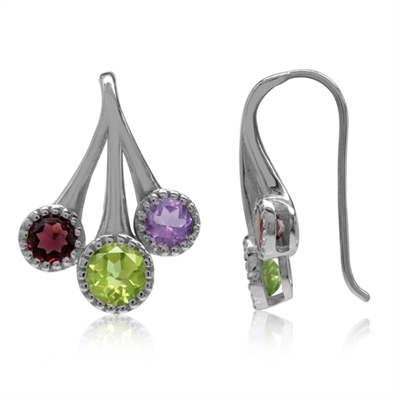 1.14ct. Natural Peridot, Rhodolite Garnet & Amethyst Gold Plated 925 Sterling Silver Hook Earrings