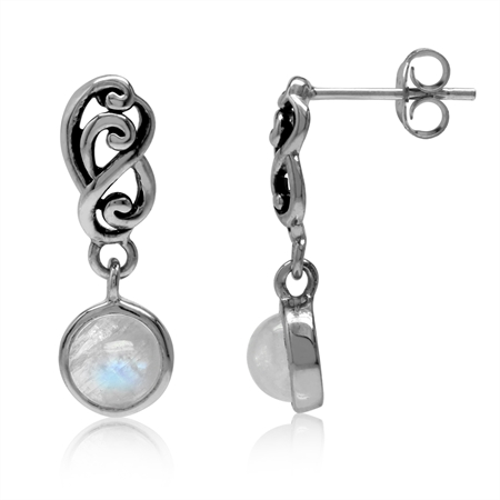 Natural Moonstone 925 Sterling Silver Filigree Swirl & Spiral Dangle Post Earrings
