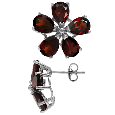 8.2ct. Natural Garnet White Gold Plated 925 Sterling Silver Flower Post Earrings