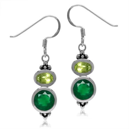 2.32ct Natural Emerald Green Agate & Arizona Peridot 925 Sterling Silver Flower Dangle Hook Earrings