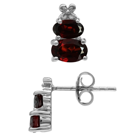 1.74ct. Extra Petite Natural Garnet White Gold Plated 925 Sterling Silver Flower Stud/Post Earrings