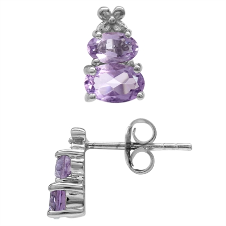 1.26ct Extra Petite Natural Amethyst White Gold Plated 925 Sterling Silver Flower Stud/Post Earrings