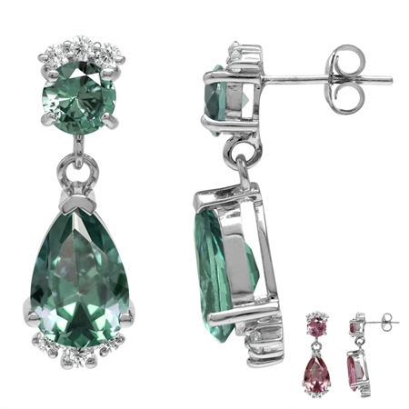 Simulated Color Change Alexandrite & White CZ 925 Sterling Silver Drop Dangle Post Earrings