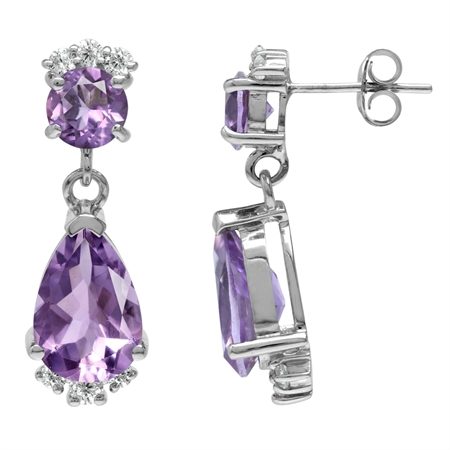 6.44ct. Natural Amethyst & White Topaz Gold Plated 925 Sterling Silver Drop Dangle Post Earrings
