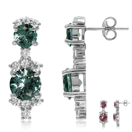 Round Shape Simulated Color Change Alexandrite & White CZ 925 Sterling Silver Post Earrings