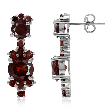 7.94ct. Natural Round Shape Garnet White Gold Plated 925 Sterling Silver Post Earrings