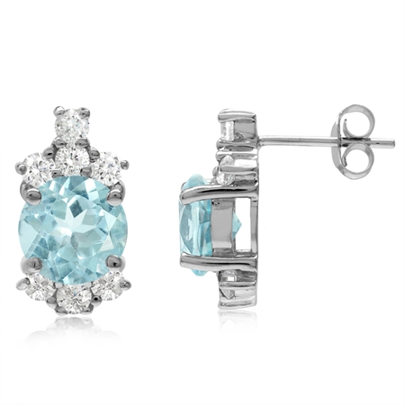 4.7ct. 8MM Genuine Round Shape Blue Topaz White Gold Plated 925 Sterling Silver Post Earrings