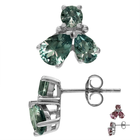 Petite Simulated Color Change Alexandrite White Gold Plated 925 Sterling Silver Stud/Post Earrings
