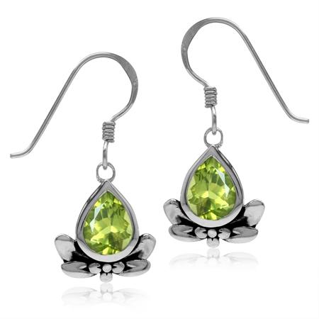 2.2ct. Natural Pear Shape Peridot 925 Sterling Silver Flower & Leaf Dangle Hook Earrings
