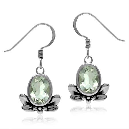 2.36ct. Natural Oval Shape Green Amethyst 925 Sterling Silver Flower & Leaf Dangle Hook Earrings