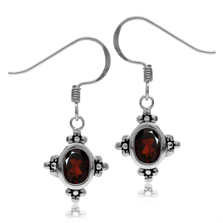 2.06ct. 7x5MM Natural Oval Shape Garnet 925 Sterling Silver Flower Dangle Hook Earrings