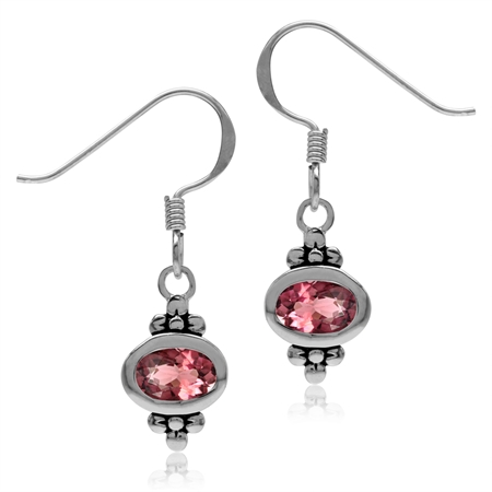 6x4MM Natural Oval Shape Pink Tourmaline 925 Sterling Silver Flower Dangle Hook Earrings