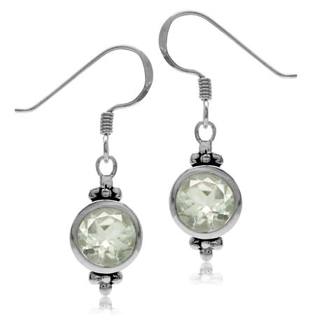2.48ct. 7MM Natural Round Shape Green Amethyst 925 Sterling Silver Flower Dangle Hook Earrings