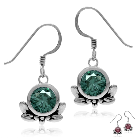 7MM Round Simulated Color Change Alexandrite 925 Sterling Silver Flower & Leaf Dangle Hook Earrings