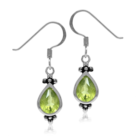 2.2ct. 8x6MM Natural Pear Shape Peridot 925 Sterling Silver Flower Dangle Hook Earrings