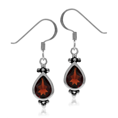 2.42ct. 8x6MM Natural Pear Shape Garnet 925 Sterling Silver Flower Dangle Hook Earrings