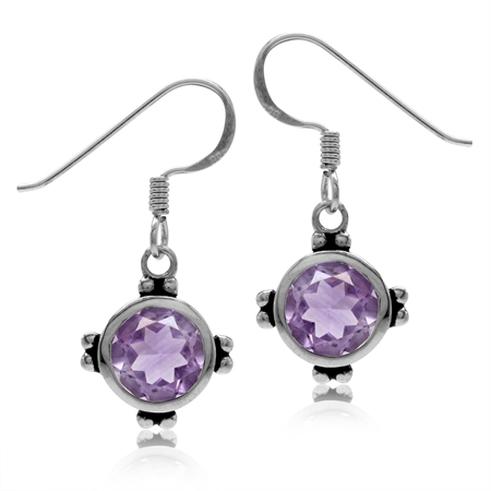 2.34ct. 7MM Natural Round Shape Amethyst 925 Sterling Silver Dangle Hook Earrings