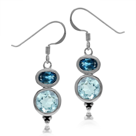 3.16ct. Genuine Blue Topaz & London Blue Topaz 925 Sterling Silver Dangle Hook Earrings
