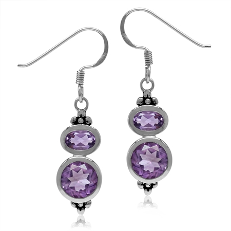 3.2ct. Natural Amethyst 925 Sterling Silver Flower Dangle Hook Earrings