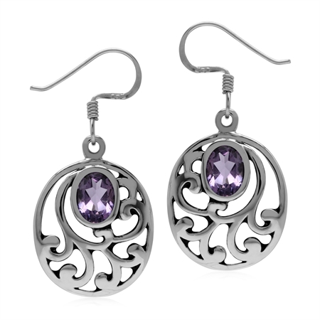 1.5ct. Natural Oval Amethyst 925 Sterling Silver Filigree Southwest Inspired Dangle Earrings