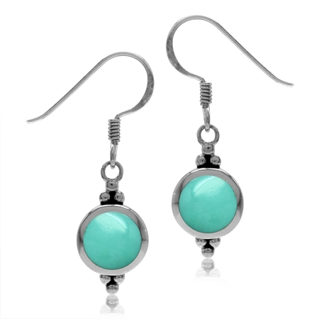 7MM Round Shape Created Green Turquoise Inlay 925 Sterling Silver Dangle Hook Earrings