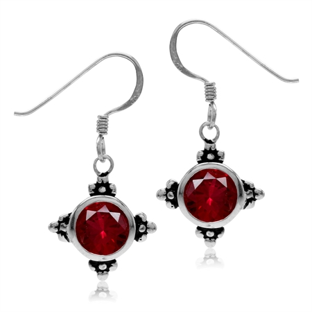7MM Round Shape Simulated Red Ruby 925 Sterling Silver Flower Dangle Hook Earrings
