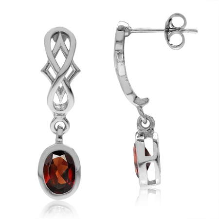 1.96ct. Natural Oval Shape Garnet 925 Sterling Silver Filigree Infinity Knot Dangle Post Earrings
