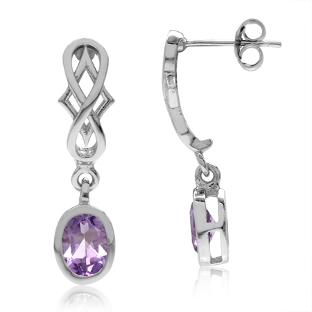 1.5ct. Natural Oval Shape Amethyst 925 Sterling Silver Filigree Infinity Knot Dangle Post Earrings