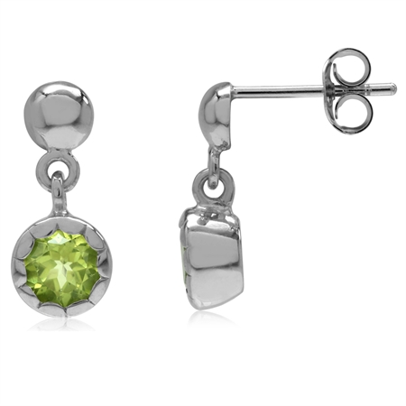 1.14ct. Natural Peridot White Gold Plated 925 Sterling Silver Casual Dangle Post Earrings