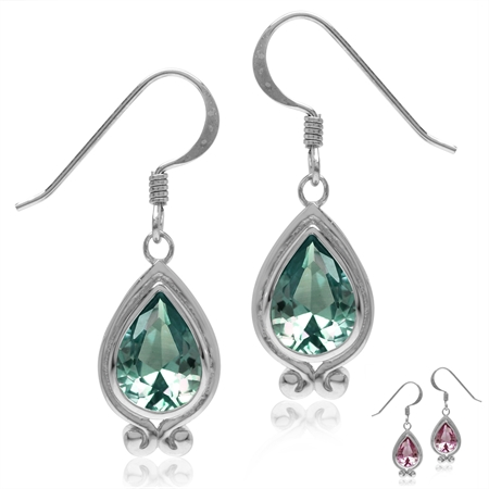 Simulated Color Change Alexandrite White Gold Plated 925 Sterling Silver Drop Dangle Hook Earrings