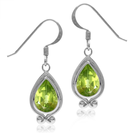 4.08ct. Natural Peridot White Gold Plated 925 Sterling Silver Drop Dangle Hook Earrings