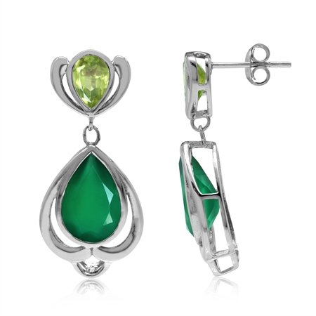 5.26ct. Natural Emerald Green Agate & Peridot 925 Sterling Silver Drop Dangle Post Earrings
