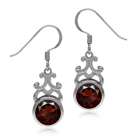 4.28ct. 8MM Natural Round Shape Garnet 925 Sterling Silver Filigree Swirl Dangle Hook Earrings
