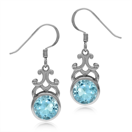 5.14ct. 8MM Genuine Round Shape Blue Topaz 925 Sterling Silver Filigree Swirl Dangle Hook Earrings
