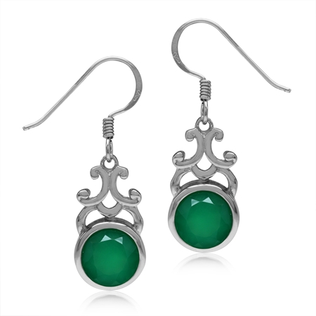 3.52ct 8MM Natural Round Emerald Green Agate 925 Sterling Silver Filigree Swirl Dangle Hook Earrings